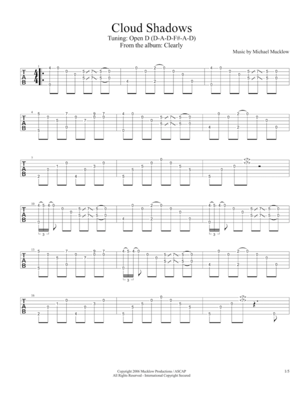 cloud shadows guitar tab image